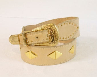 Vintage women's belt - Sonia Rykiel Beige Leather Belt with golden studs size medium
