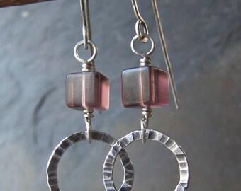Lavender Fluorite & Silver Earrings - handmade sterling earrings w/ fluorite - hammered silver