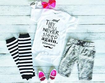 Funny Baby Onesie - Cute Baby Onesie - Baby Shower Gift - New Baby Gift - Baby Onesie With Sayings - Never Sleep Again