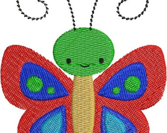 Cute Colorful Butterfly with fill Machine Embroidery Designs 4x4 & 5x7 Instant Download Sale