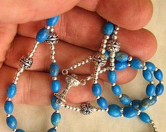 Catholic First Communion Rosary Prayer Beads Arizona Turquoise & Sterling Silver