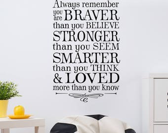 SALE - in BROWN only 18x30 Winnie the pooh quote always remember wall decal - only one available