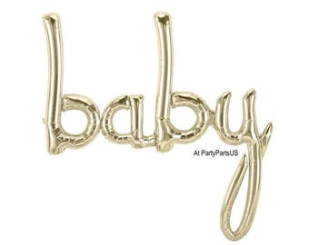script baby balloon, white gold baby shower decorations, babys first birthday photo props, backdrop, high chair decorations, 1st birthday