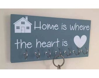 Home is where the heart is - Duck Egg Blue Shabby Chic Key rack
