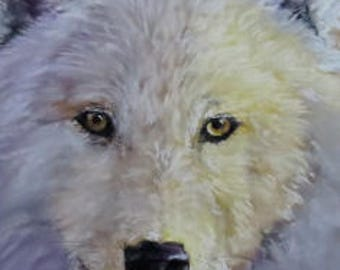 White Wolf Pastel Painting