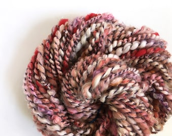 Handspun Art Yarn, Wool and Sari Silk Sparkle, Red and Purple, 52 yds Super Bulky