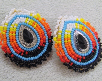 Native Lakota Beaded Medallion Earrings - Teardrop - blue with sunburst colors - suede leather backing -  [JC-03]