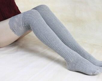 Grey Thigh High Socks Lace Trim Long Lace Socks Knee High Socks Black Lace Boot Socks Wedding Dress Ruffle Socks  1109