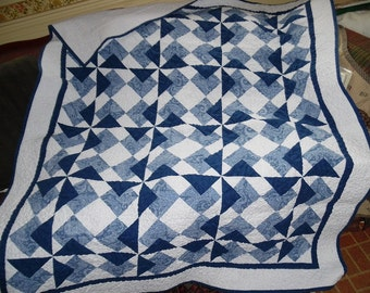 Quilt Pieced Blue and White Handmade