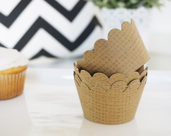 BURLAP Cupcake Wrappers - Set of 24