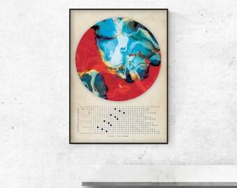 Moon Calendar 2018, Marble moon, Lunar calendar 2018,  wall lunar calendar- red and blue energy A3, A3+ size, office decoraw