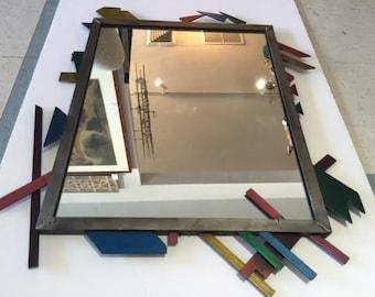Mid Century Modern Abstract Steel Mirror