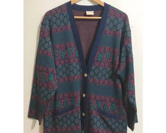 Vintage 70s Paisley Print Cardigan Sweater Vintage Womens Sweater Retro Colorful Cardigan Sweater Abstract Geometric Sweater