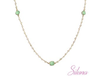 Necklace prehnite Rosary in vermeil (sterling silver 925 gold plated)