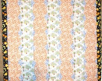 Lemon Floral Handmade Quilt Throw Blanket with Stripes in Orange, Blue, White