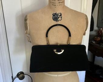 Vintage 50s Black Wool and Gold Metal Hardware Handbag