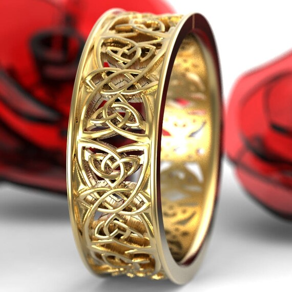 Gold Celtic Wedding Ring With Cut-Through Celtic Knotwork Design in 10K 14K 18K or Palladium, Made in Your Size Cr-1039