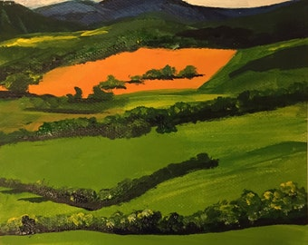 Country Painting, Acrylic on Paper, Australian Artist, Landscape, Framed behind Glass