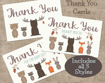 Baby Shower Individual Thank You Cards, Woodland Animal Thank You Cards