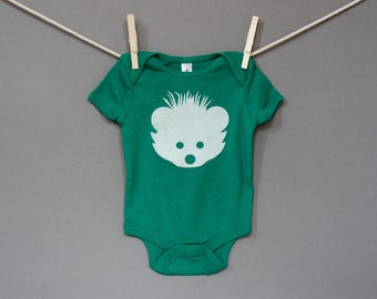 Organic Cotton Hedgehog Onesie / Bodysuit in Green with White / 12-18 Months