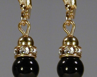 Black Onyx Lever Back Earrings
