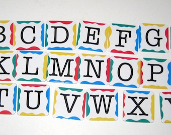 "Chipboard Alphabet - 26  1.5"" Square Festive Letters - from Link 26 Game"