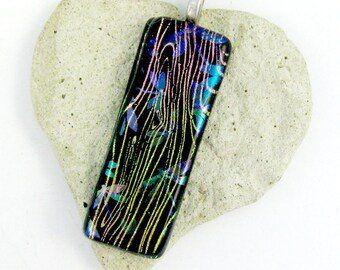 Dragonflies Dichroic Fused Glass Pendant