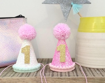 Glitter Smash Cake Party Hat || Glitter Cake Smash Hat || First Birthday Hat || One || Mini Party Hat || Pink Glitter Party Hat || One ||