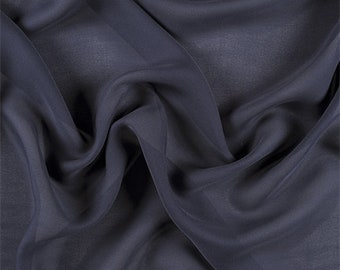 Navy Blue Silk Double Georgette, Fabric By The Yard