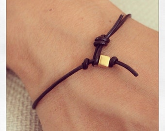 Bracelet Simple 01 Gold Leather Handmade - Brown (B401GD-LBN)
