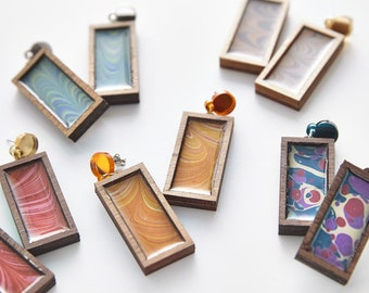 Esoteric london x paperwilds collaboration - marbled rectangle earrings
