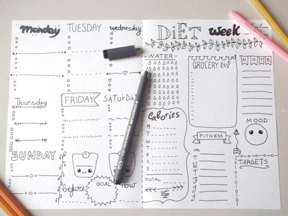 Eccezionale dieta planner settimana da stampare pdf journaling giornale PE95