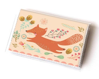 NEW Handmade Vinyl Card Holder - Foxy  / card case, vinyl wallet, women's wallet, small wallet, fox, woodland, gift, cute, floral, pink