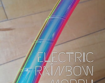 brand new**•Electric Rainbow Morph• polypro or hdpe uv reactive tri-morph hula hoop