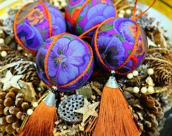 Handmade Purple Cotton/Bronze Fringe Christmas Tree Ornaments, Set of 4 - Christmas tree ornaments