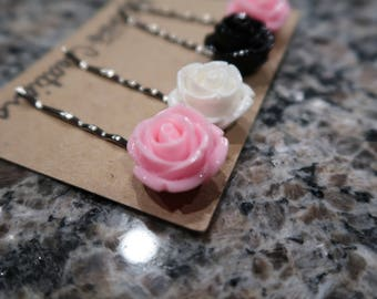 Pink, Black and White Flowers Bobby Pin Set - 4 Flower Bobby Pins