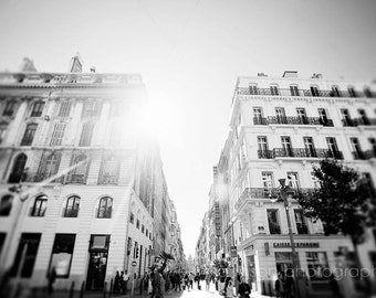 black and white europe photography, marseille, france,  french architecture art, cityscape, travel street photograph, Shining on the City