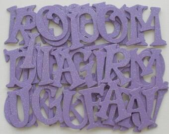 LiLAC Purple Glitter Chipboard Letters - Small Alphabet Die Cuts -  1.5 inch Tall