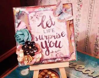 Let life suprise you original mixed media artwork