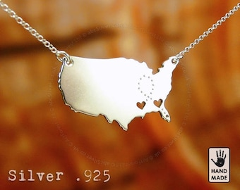 United States Map Handmade Personalized Sterling Silver .925 Necklace in a gift box