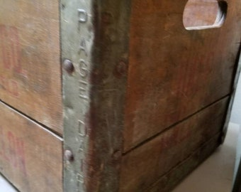 Antique Milk Crate Paige 1959 Dairy Milk Bottle Crate Dairy Crate Advertising Farmhouse Ohio