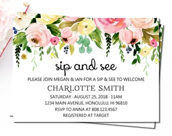 Sip and See Invitation, Meet and Greet Baby Invitations, Spring Floral Baby Shower Invitation, Hello Baby Invitation, Welcome Baby, C37