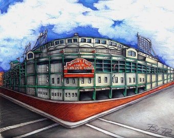 WRIGLEY FIELD chicago cubs art print wrigley field art print wall art wall decor home decor cubbies art chicago cubs pride illustration