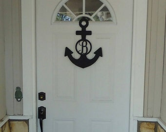 Anchor, Custom Metal Monogram Anchor, Anchor Door Hanger, Personalized Anchor, Anchor