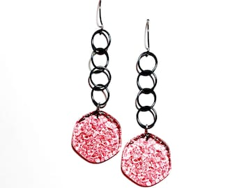 Pink Textured 'Stained Glass' Lucite Chain Drop Earrings   Vintage Lucite Statement Earrings
