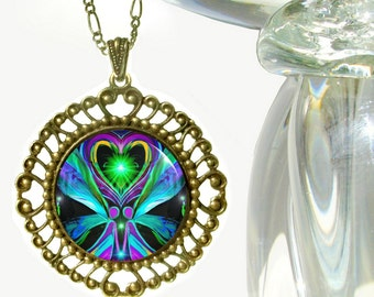 "Twin Flames, Reiki Energy Pendant Necklace ""Unconditional Love"""