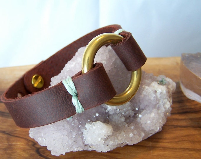 Stitch Ring Cuff Bracelet. Unisex. Choose your finish. Choose your stitch color.