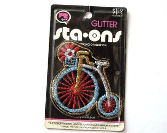 vintage bicycle patch . glitter bike patch .  high wheel bicycle, bone shaker, penny farthing . Dyno patch in package NOS