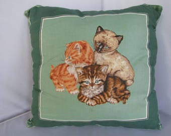 Plush Handmade Decorative Pillow with 3 Cats  New