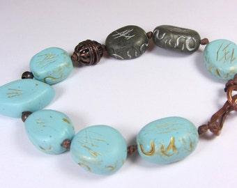 Bird Bracelet, Blue Bracelet Gray,  Copper Bracelet, Turquoise Bracelet Gold, Bird Bracelet Blue, Handmade Bracelet, Bohemian Blue Bracelet